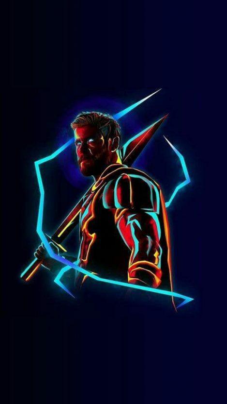 Cute Halloween Phone Wallpaper Thor Neon Avengers Infinity War Iphone Wallpaper Iphone