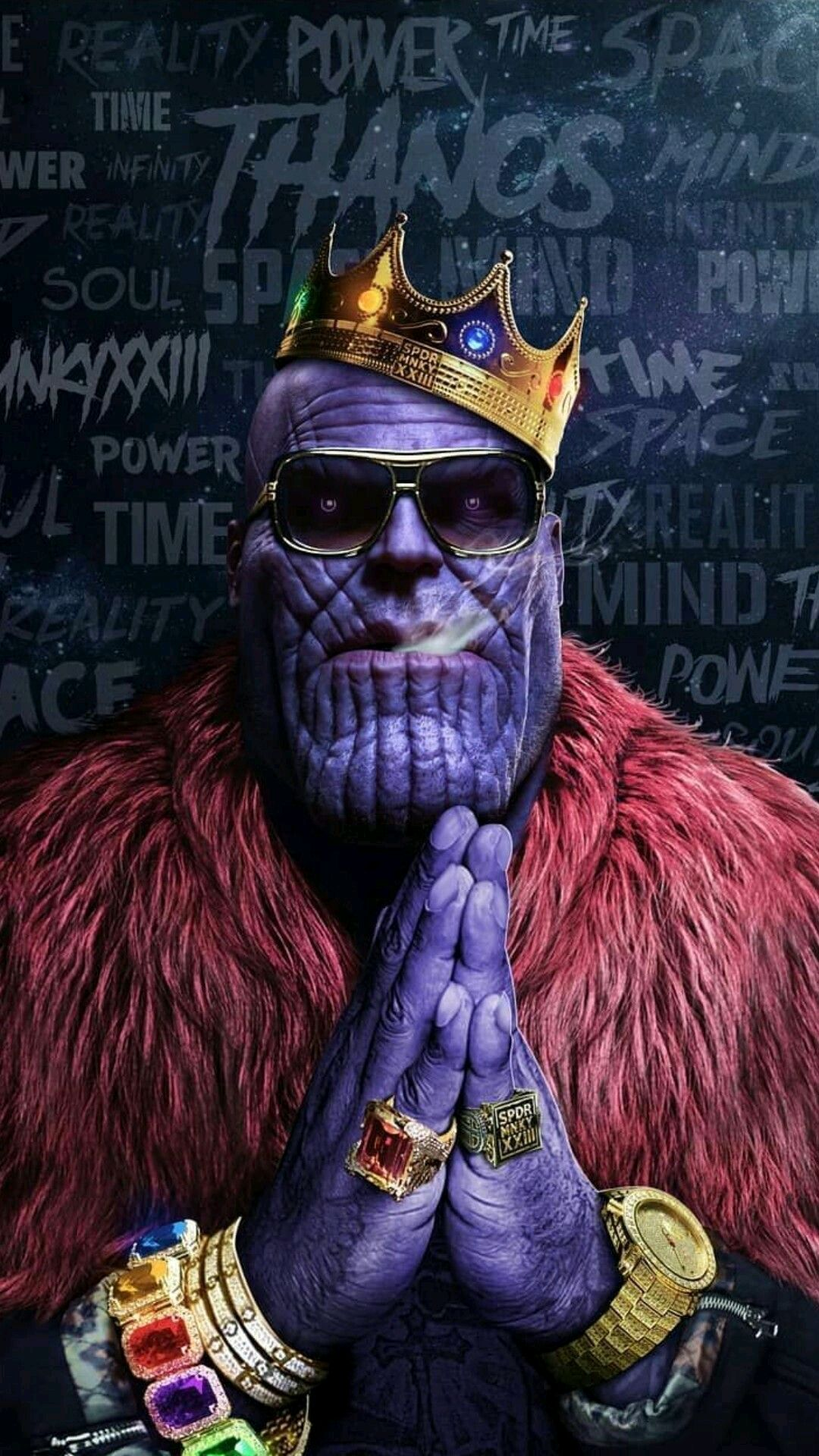 Iphone 5 Wallpaper Gold Avengers Thanos Hip Hop Crown Gold Chains Rings Infinity