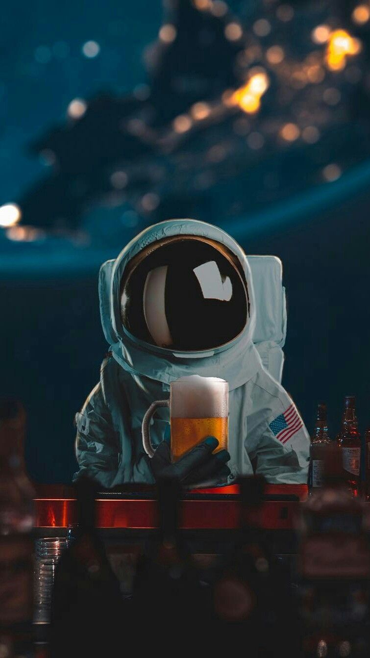 Anime Space Girl Wallpaper Astronaut With Beer Iphone Wallpaper Iphoneswallpapers Com