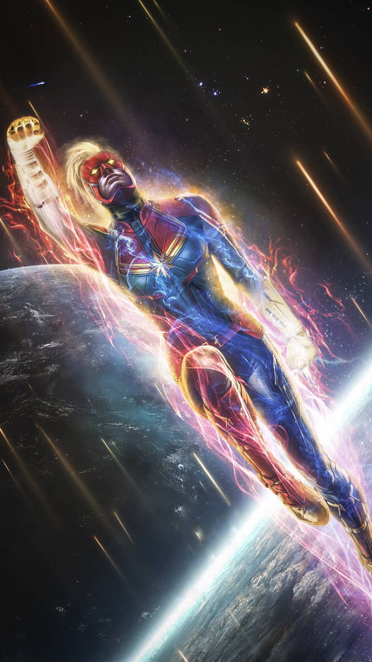Black Animal Wallpaper Captain Marvel Space Fight Iphone Wallpaper Iphone