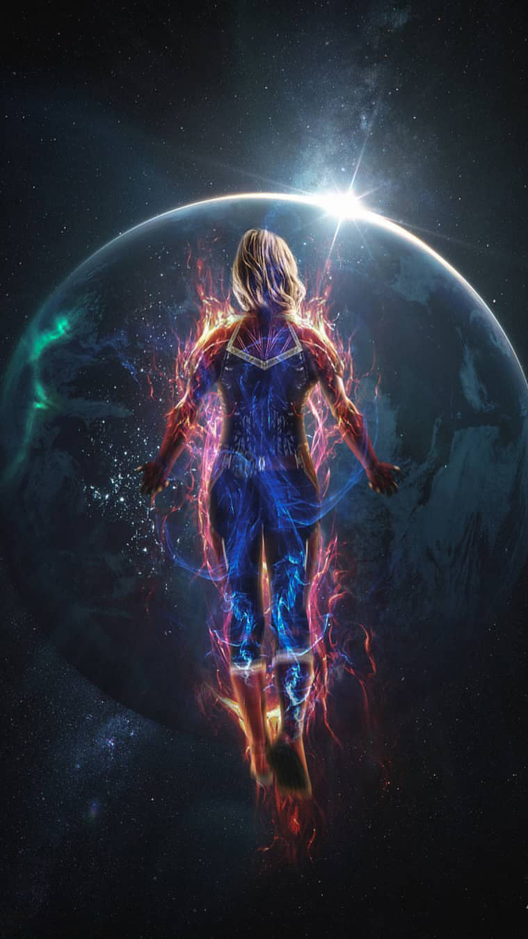 Avengers Animated Wallpaper Captain Marvel In Space Iphone Wallpaper
