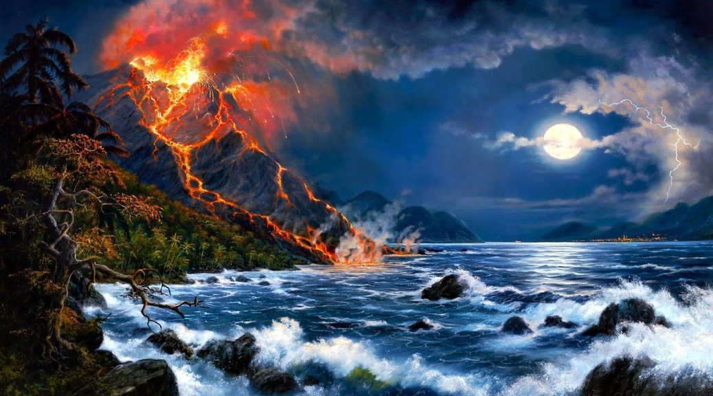 Cute Puppies Wallpaper 1080p Erupting Volcano Oil Painting Art Picture Image Wallpapers