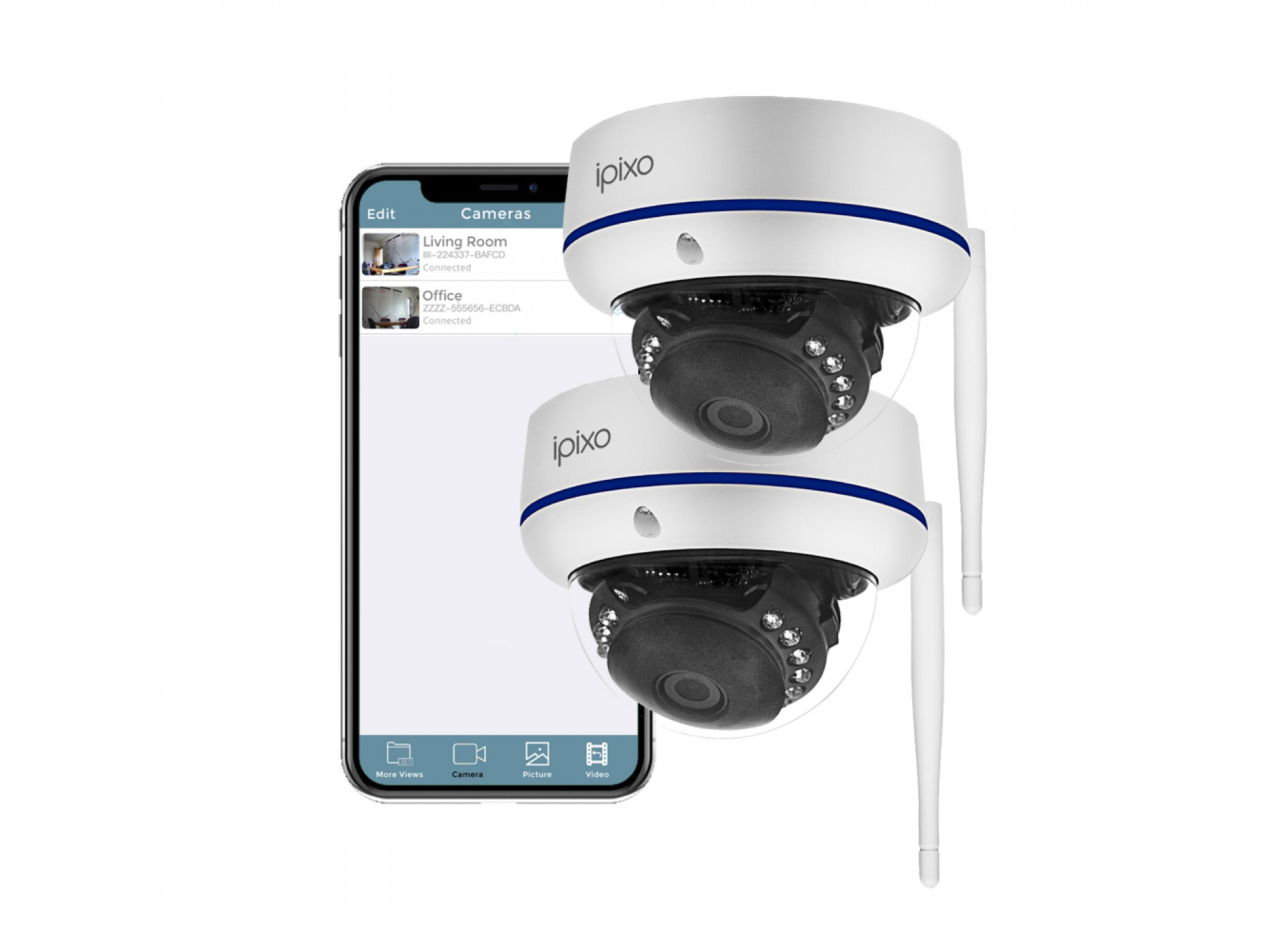 Outdoor Wifi Security Camera Ipixo Wifi Dome Security Camera Pack Of 2 Outdoor Dome