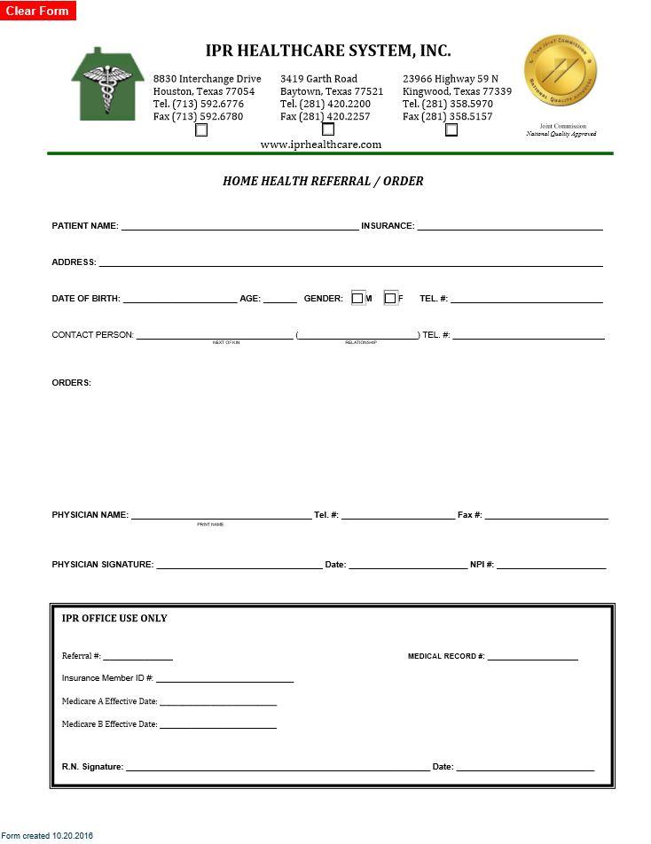 Referral Order Form - IPR Healthcare
