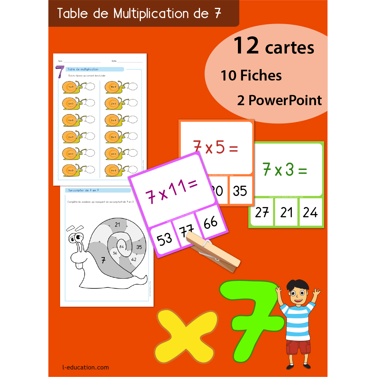 Table De Multiplication De 7 Quiz Interactif Cartes And Fiches Table De Multiplication De 7