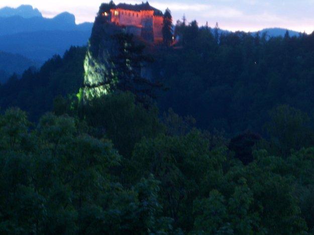 lake bled castle at sunset, taken from hotel krim balcony