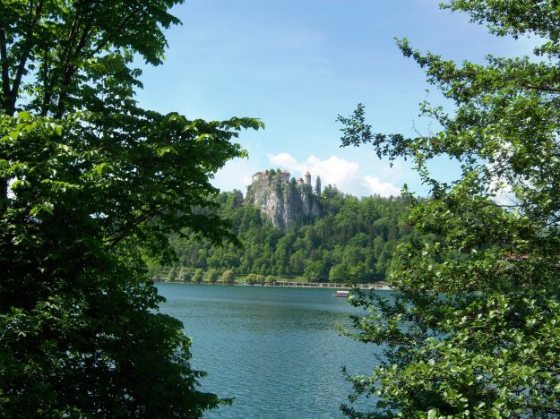 lake with castle, bled slovenia