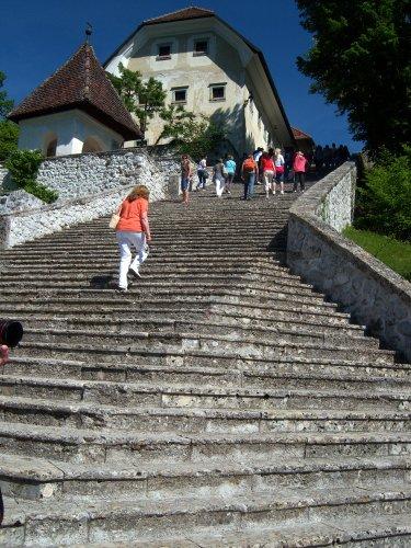 steps to otok church, lake bled, slovenia