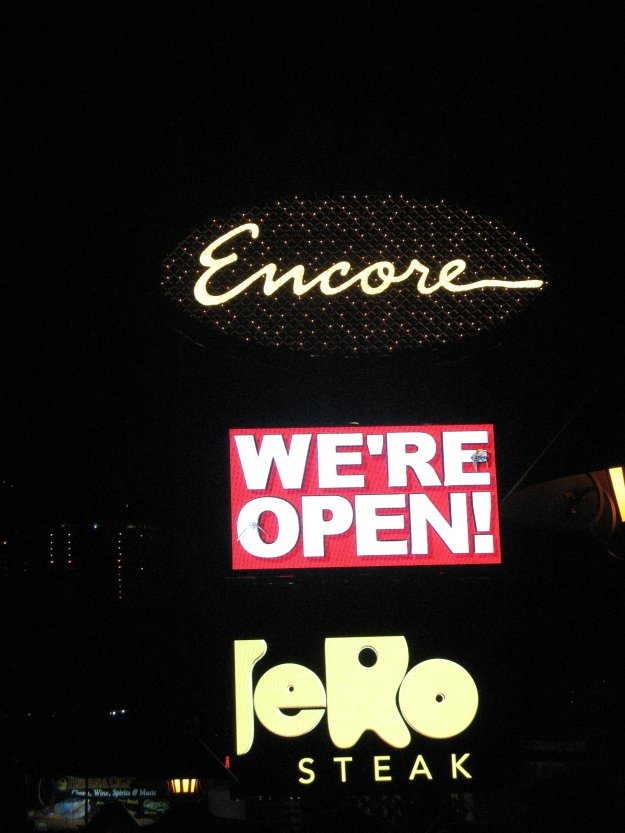 Encore Las Vegas sign We're Open