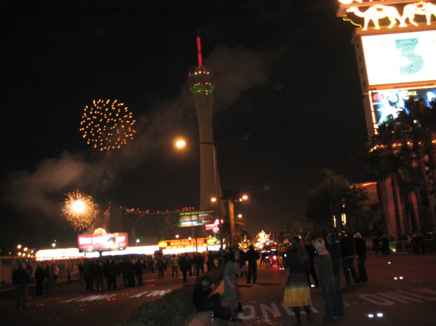 Las Vegas New Year's Eve fireworks on the Strip