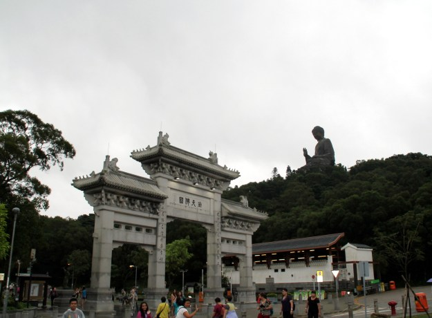 Po Lin Monastery Gates with Tian Tan Buddha in background Hong Kong