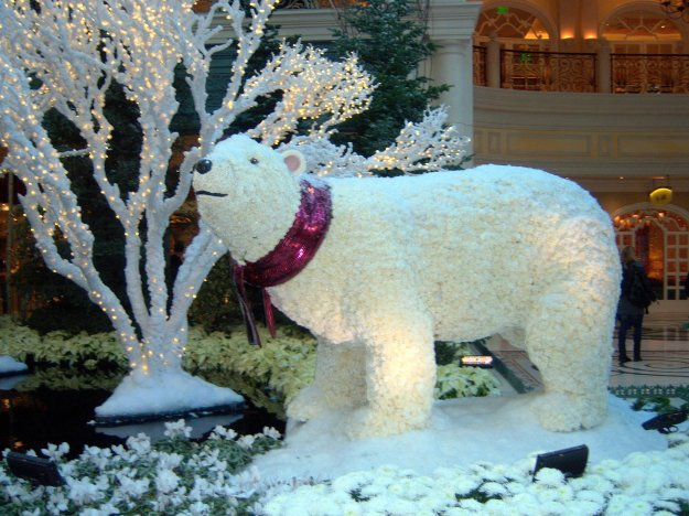 Bellagio Conservatory Mama polar bear Christmas Las Vegas Nevada