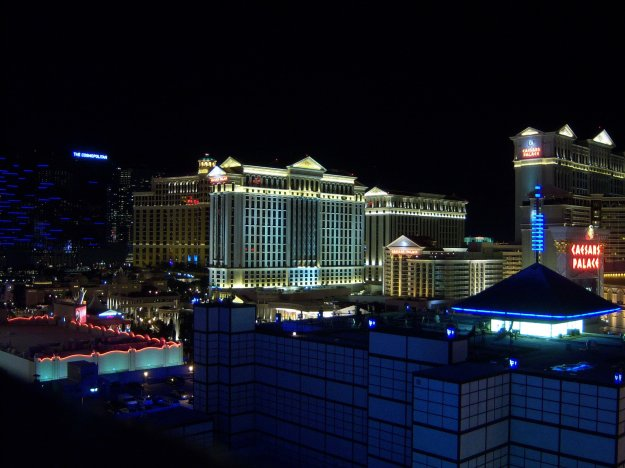 view of Cosmopolitan, Bellagio and Caesars from Imperial Palace Balcony Las Vegas