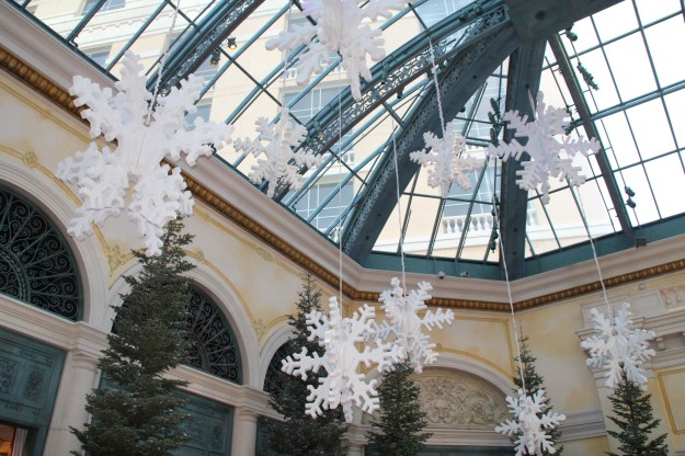Bellagio Christmas conservatory ceiling snowflakes