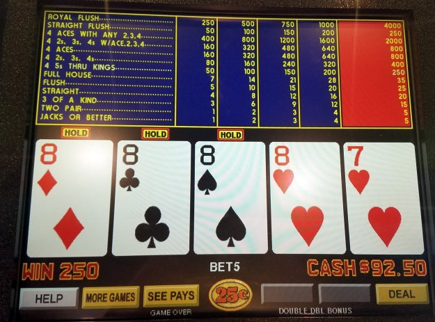 double double bonus video poker 4oak 8s new york new york casino las vegas