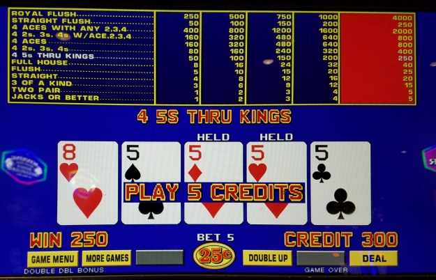 four of a kind fives double double bonus video poker ballys atlantic city