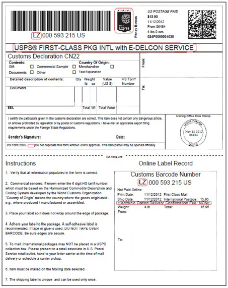 Shipping FAQ - packing label template