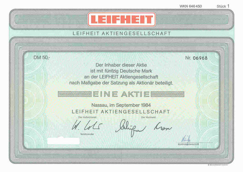 Leifheit AG - Cancelled share certificates