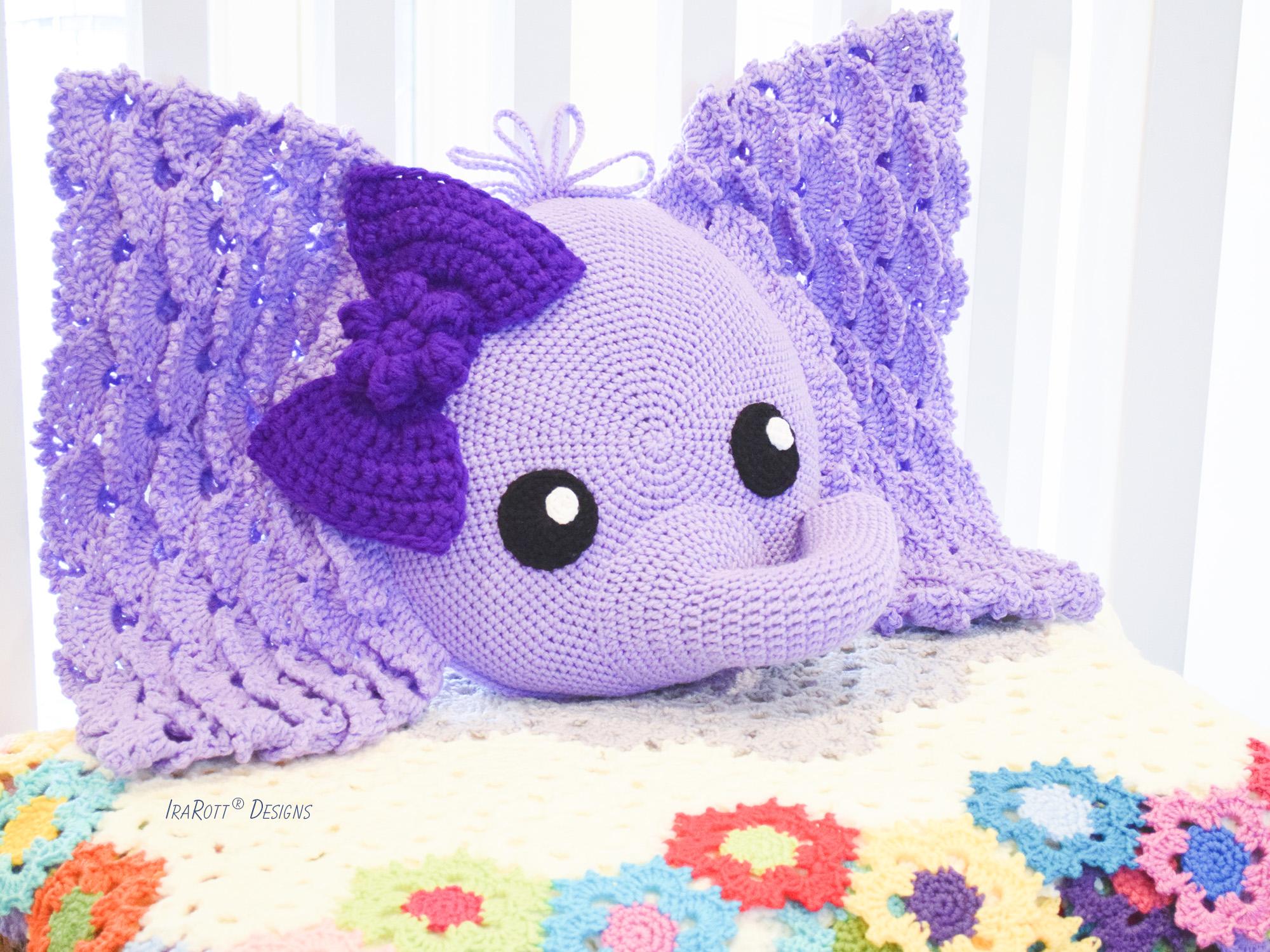 Josefina and Jeffery Elephant Pillow PDF Crochet Pattern - IraRott Inc