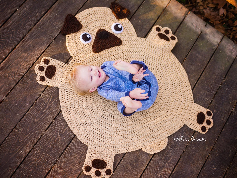 The Pugfect Pug Rug Pdf Crochet Pattern Irarott Inc