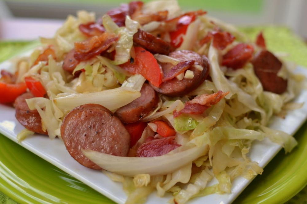 Cabbage Bacon Sausage Stir Fry | RecipeLion.com