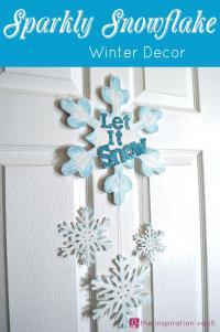 Sparkly Snowflake Door Decor | AllFreeChristmasCrafts.com