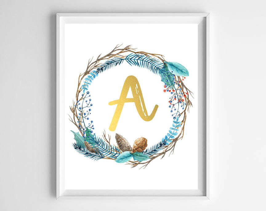 wreath with initial