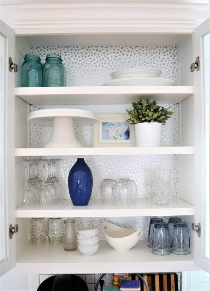 How to Add Wallpaper to Kitchen Cabinets | DIYIdeaCenter.com