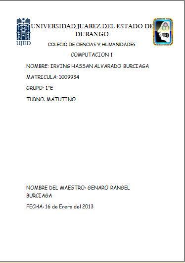 Portada Practica #5 CURSO DE COMPUTACION 1