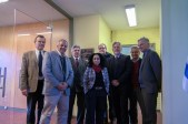 L to R: Walter Baethgen (IRI), Álvaro Roel (President of INIA), Tabaré Aguerre (Minister of Agriculture, Uruguay), Julissa Reynoso (US Ambassador to Uruguay), José Silva (Director of INIA), Glenn Denning (Columbia), Santiago Cayota (Director of INIA Las Brujas Regional Center, which is hosting the IRI office), and David McKean (Director of the Office of Policy Planning, US Department of State).