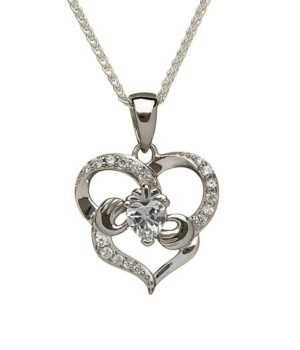 Double Heart Claddagh Necklace