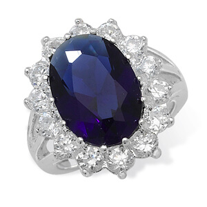 Synthetic Sapphire Ring
