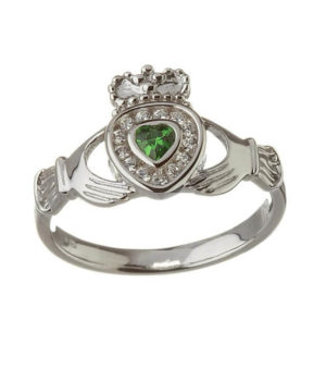 Emerald Heart Claddagh Ring with CZ Diamonds - Sterling Silver