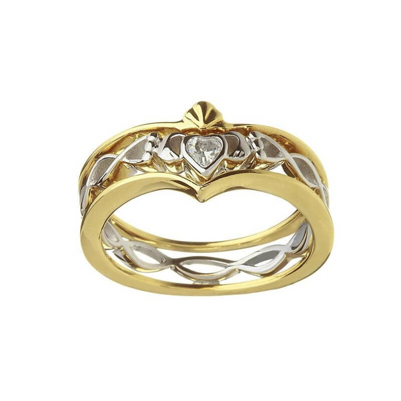 Silver & Gold Twisted CZ Band