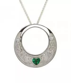 Celtic Claddagh with Emerald Heart Necklace