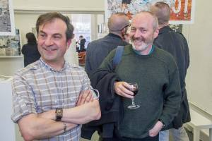 Olivier Cornet (left) with artist Eoin Mac Lochlainn at the exhibition opening.