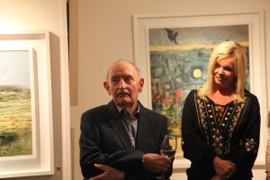 Artist Bob Ryan with Gallery Owner Liz Allen at the exhibition opening (photo Liam Madden)