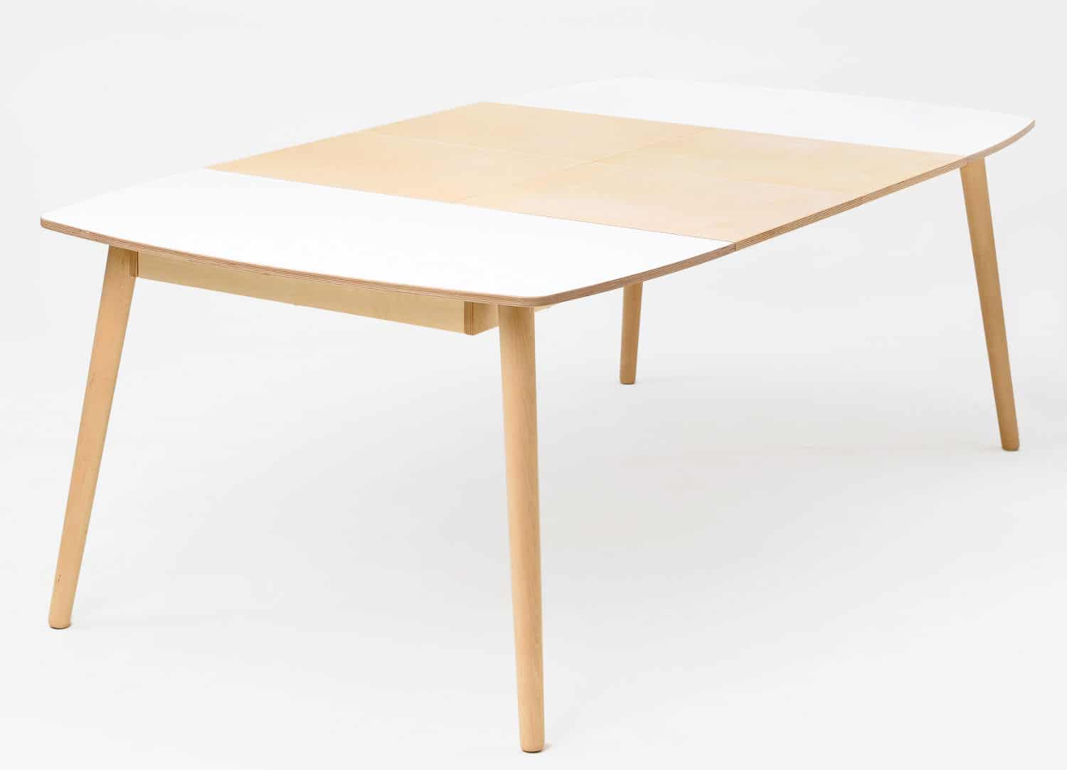 White Dining Table Extendable Nam Nam Extending Dining Table White Top Oak Waxed Legs