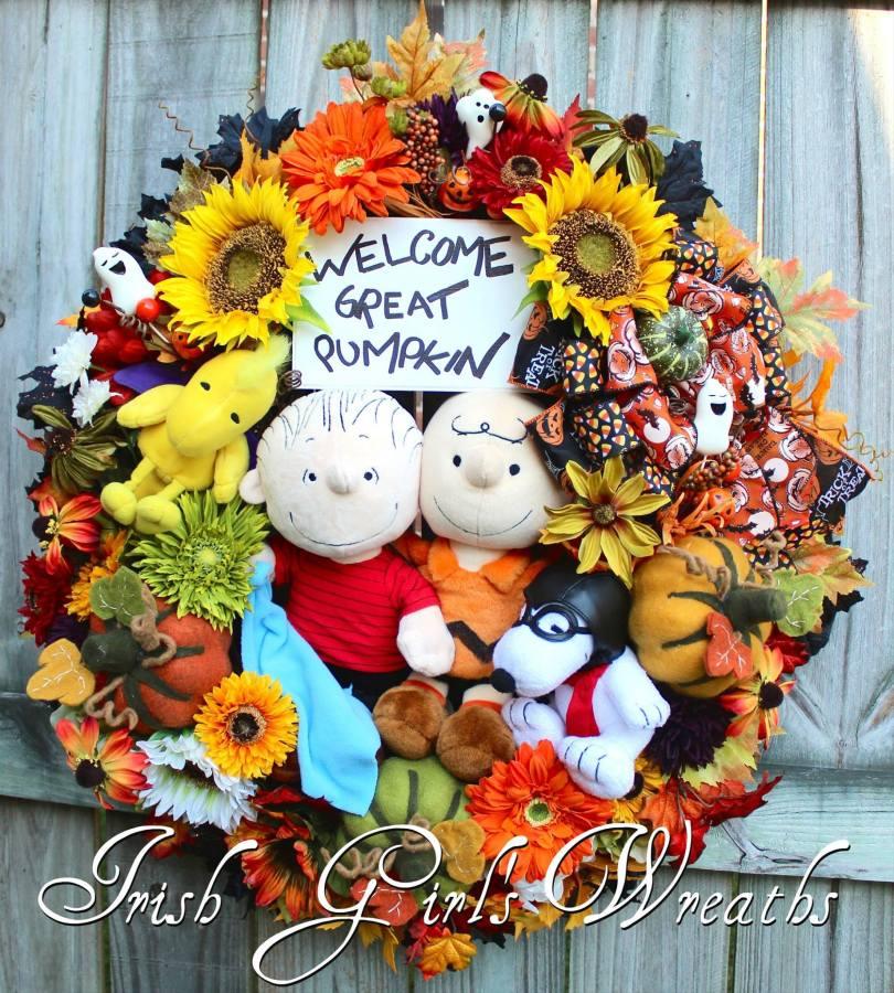 Welcome Great Pumpkin Halloween Wreath