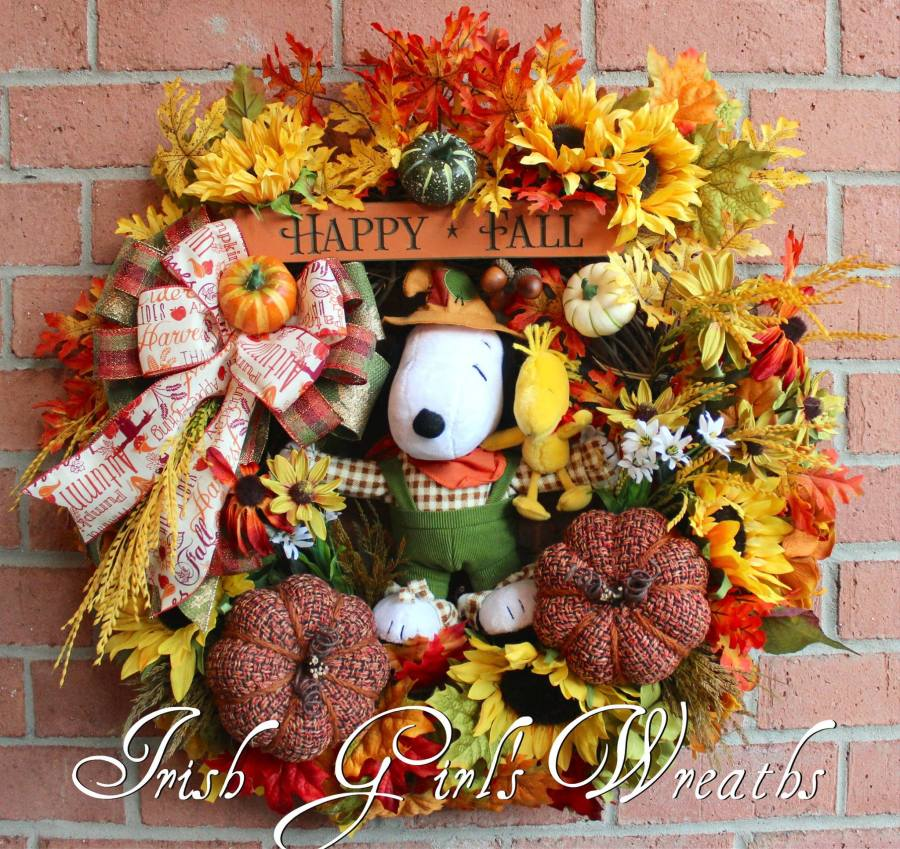 Scarecrow Snoopy and Woodstock Happy Fall Wreath