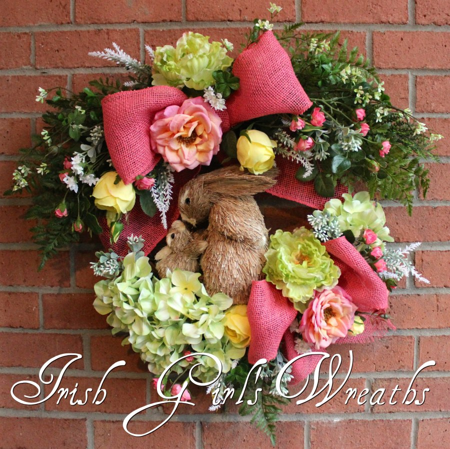 Coral and Yellow Mom Baby Bunny Spring Garden Wreath, Easter Wreath
