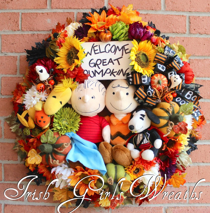 Welcome Great Pumpkin Peanuts Halloween Wreath, Custom for David