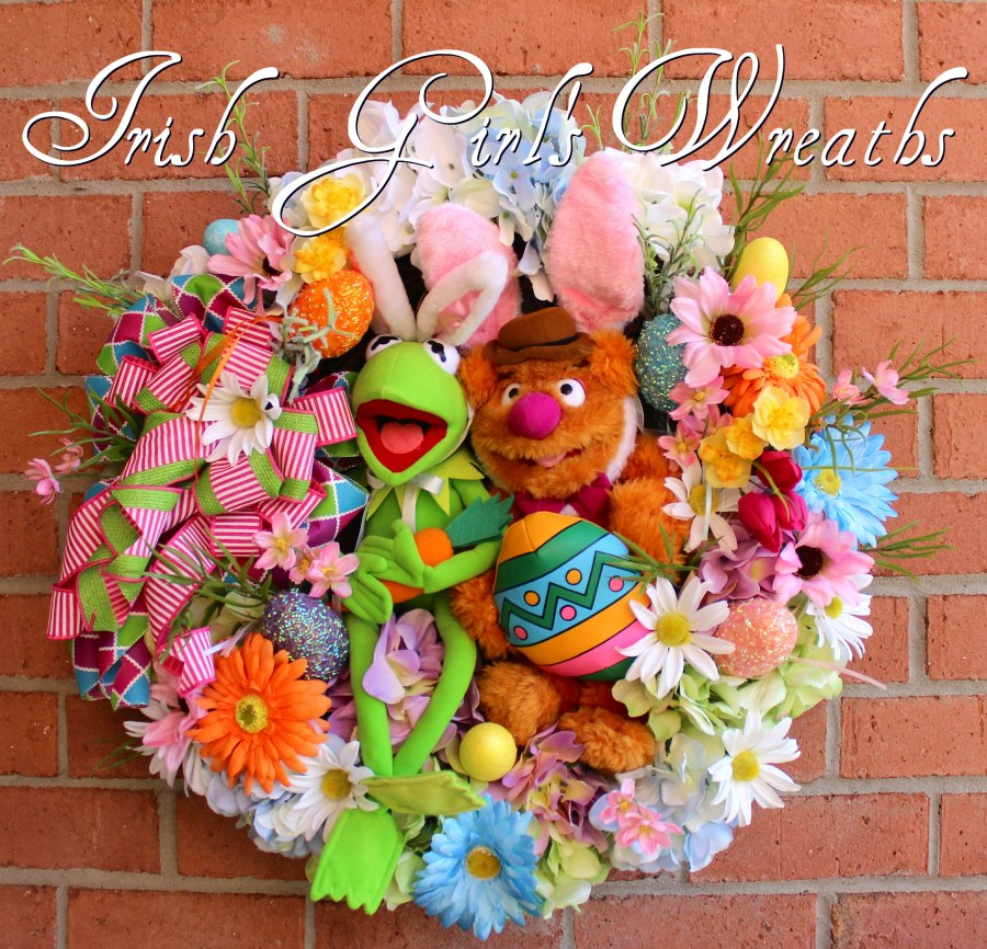 Muppet Easter Wreath featuring Kermit and Fozzie Bear
