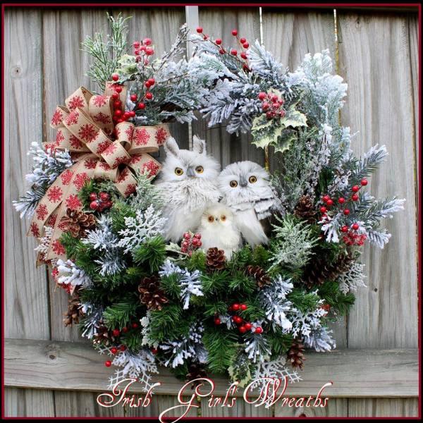 Kathie's Custom Ordered Gray Winter Owl Family Wreath