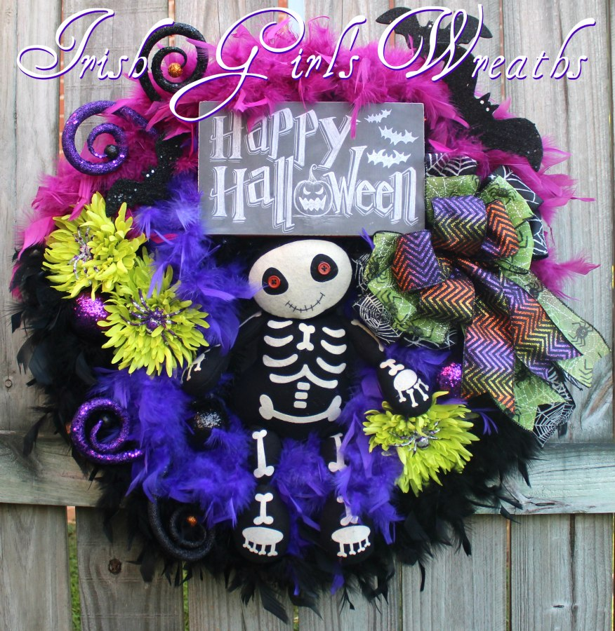 Adorable Skeleton Purple Happy Halloween Wreath