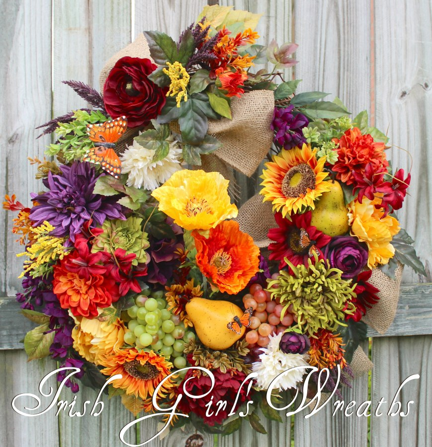 Rustic Tuscan Elegance Wreath, French Country Poppy, Wisteria & Sunflower Wreath
