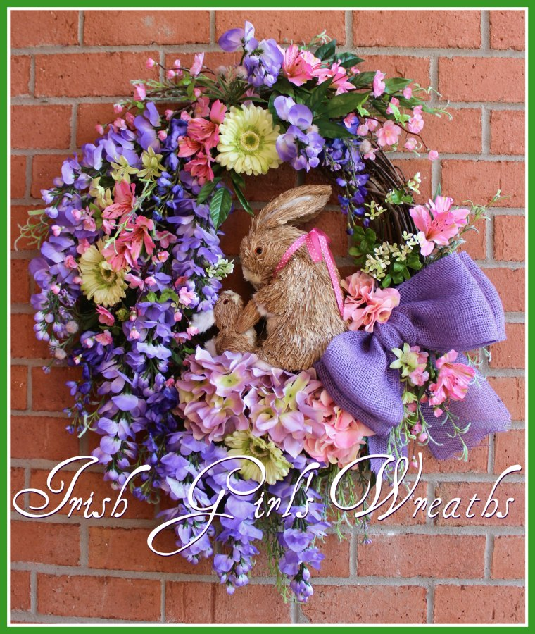 Purple Wsteria and Cherry Blossom Spring Bunnies Wreath -2, for Susan
