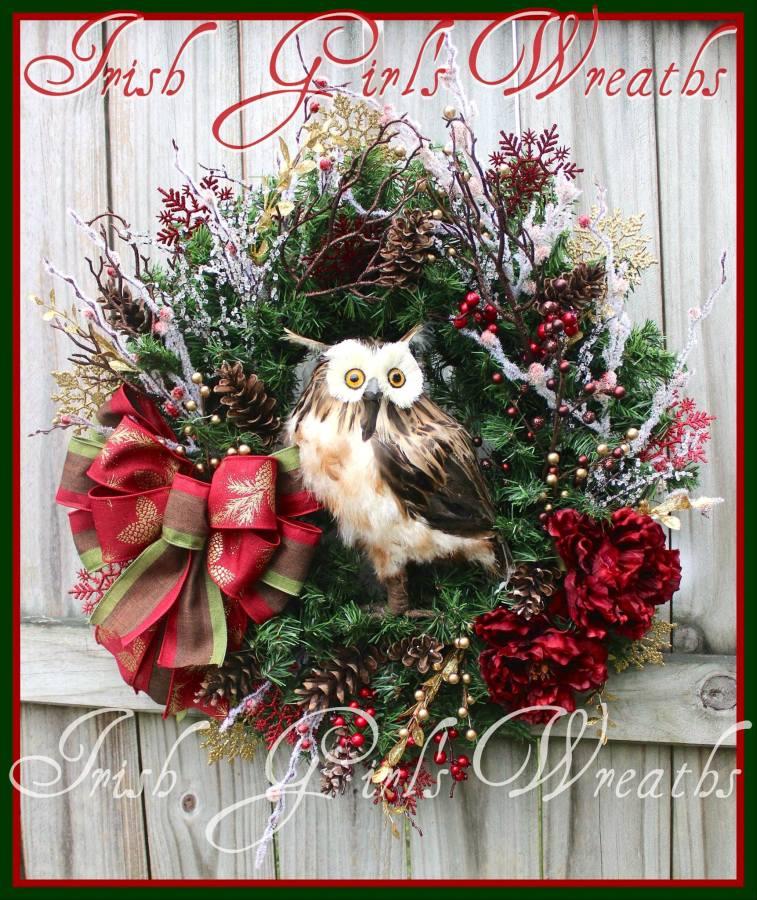 Rustic Burgundy Winter Brown Owl Wreath