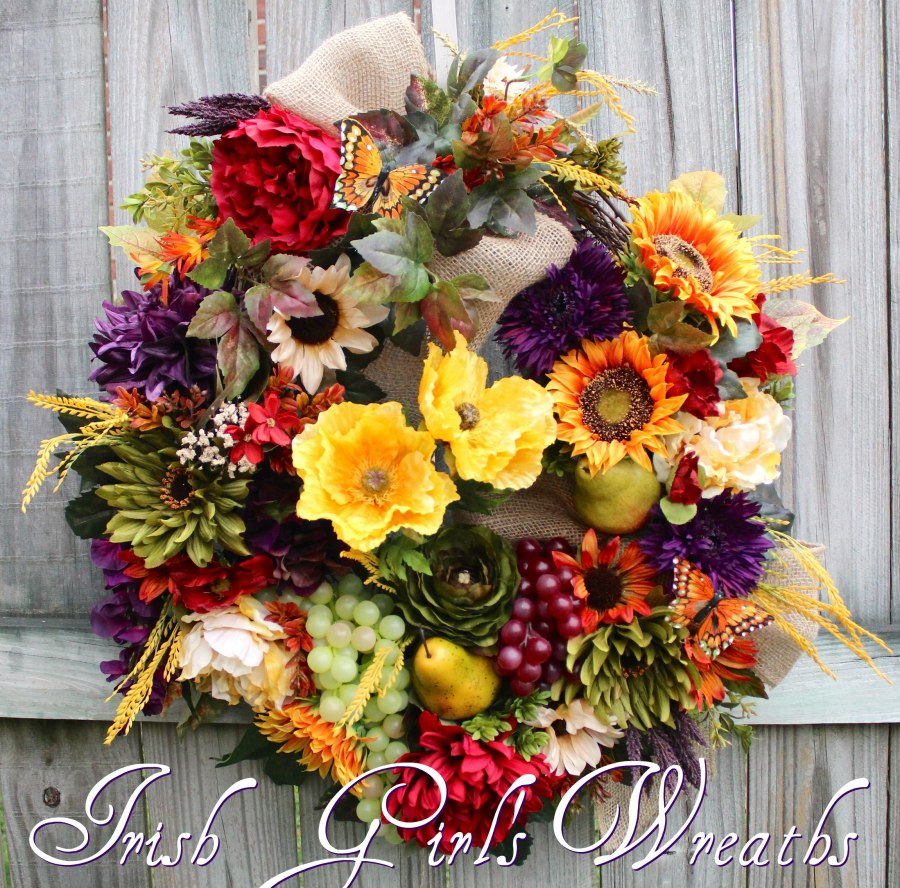 Deluxe Tuscan Sunflower and Poppy Wreath