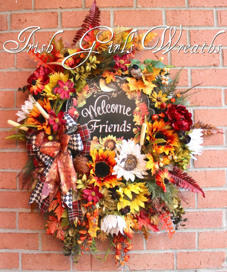 HUGE Welcome Friends Deluxe Fall Sunflower Wreath